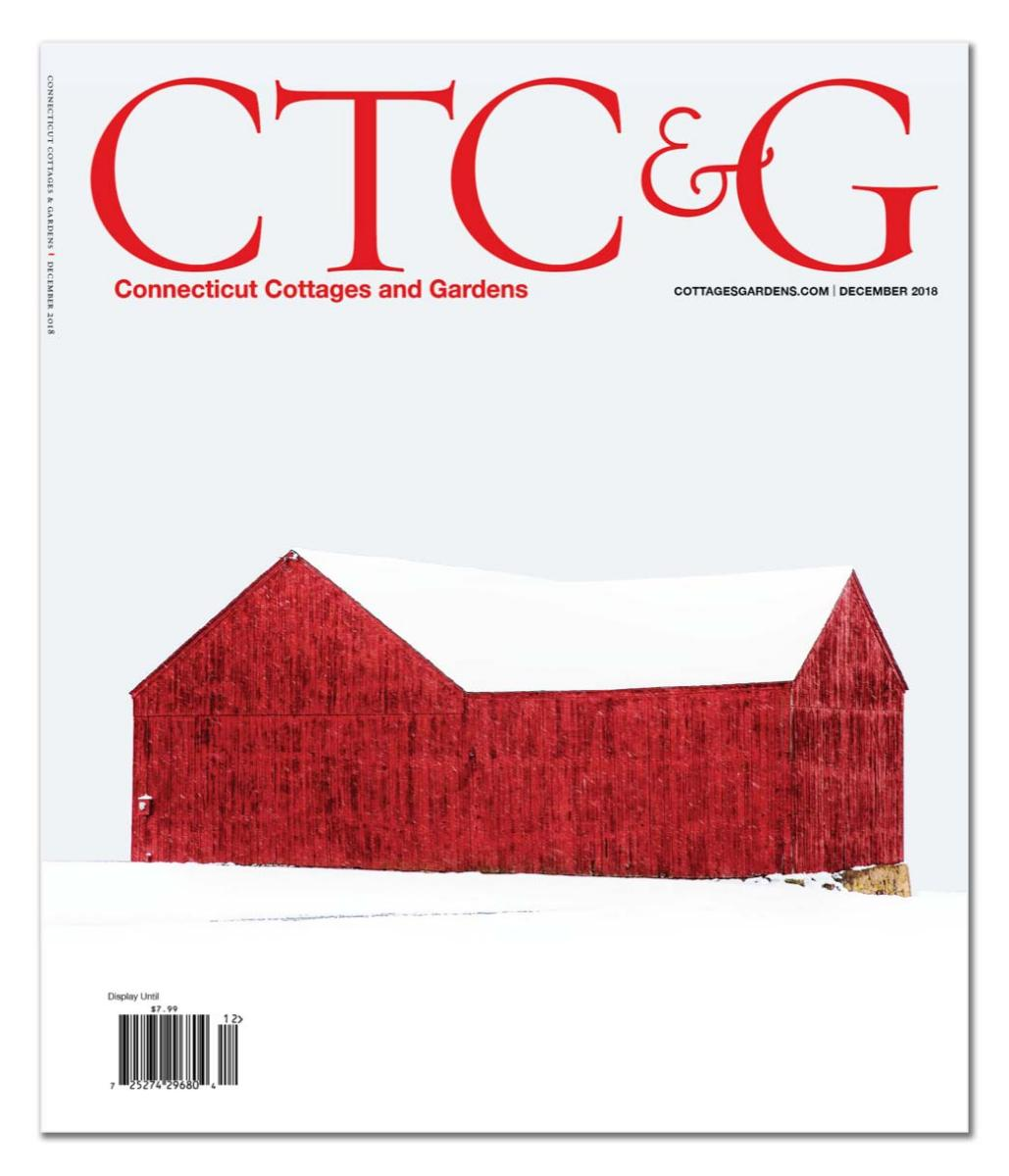 """ A Study in Scarlet"" as it appears on the December 2018 Cover of CT Cottage & Garden"