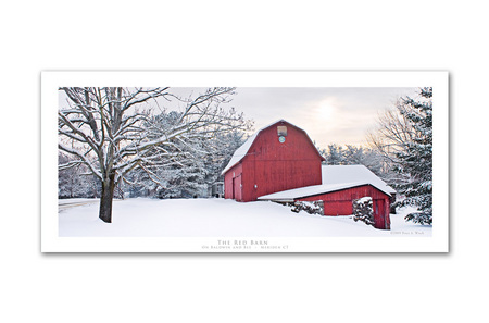 """Red Barn"" is a classic New England image and very popular selling photo. Photo comes printed with a white border and description ""The Red Barn"" On Baldwin and Bee  Meriden CT"